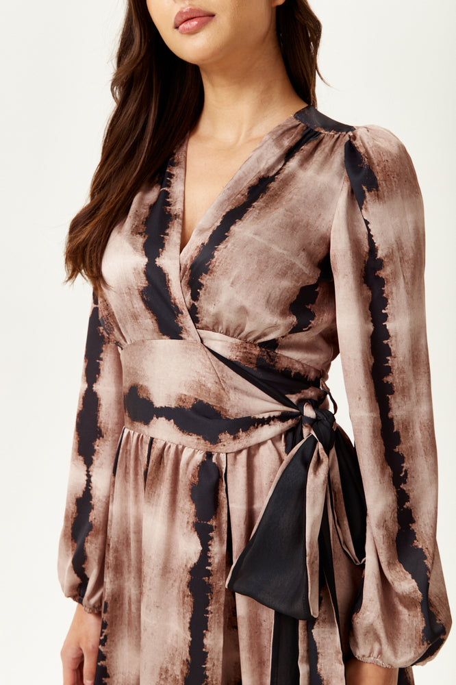 Abstract Print Wrap Midi Dress with Long Sleeves