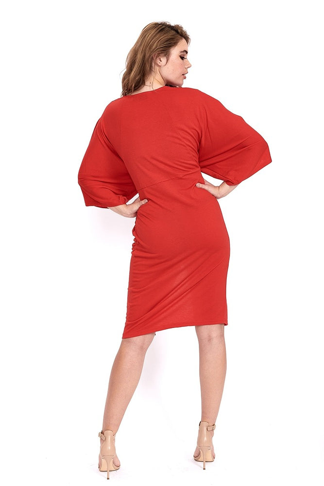 Liquorish Jersey Midi Dress With Twisted Front and Kimono Sleeve in Red