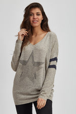 Divine Grace Grey Jumper With Sparkly Star & Stripes