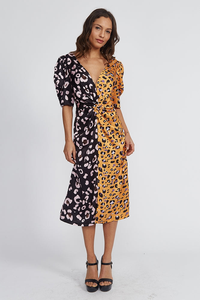 Liquorish Midi Dress With Balloon Sleeves in Black and Yellow Animal Print