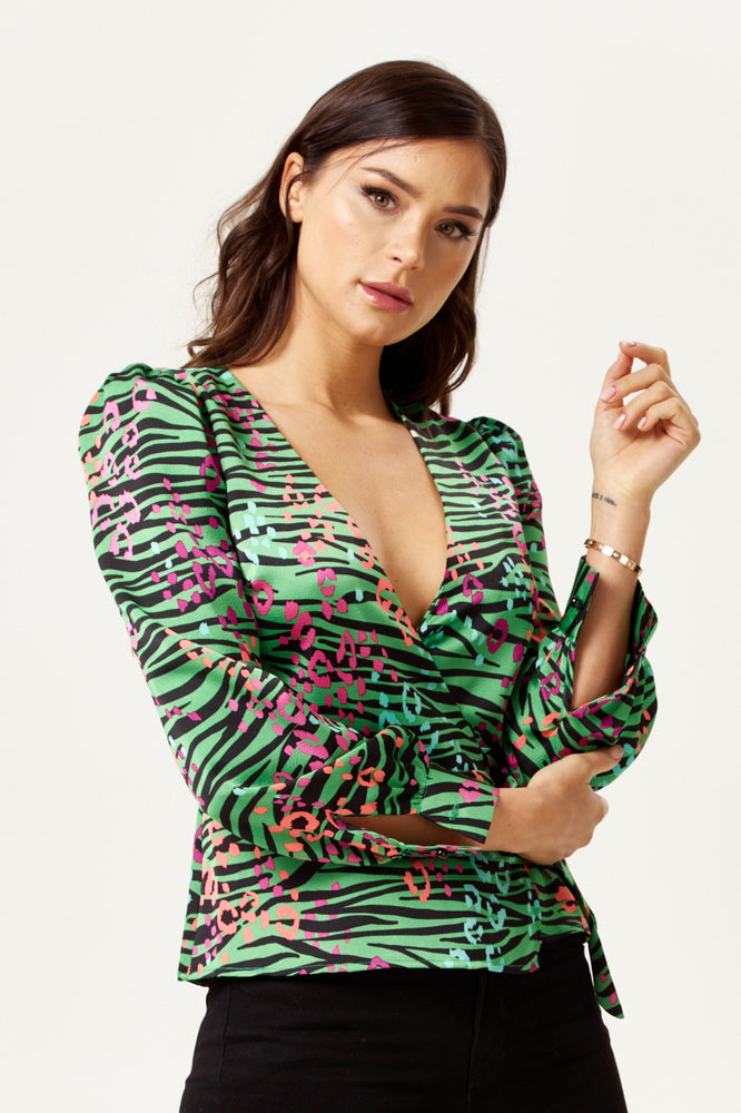 Liquorish Leopard and Zebra Print Wrap Top in Green Base