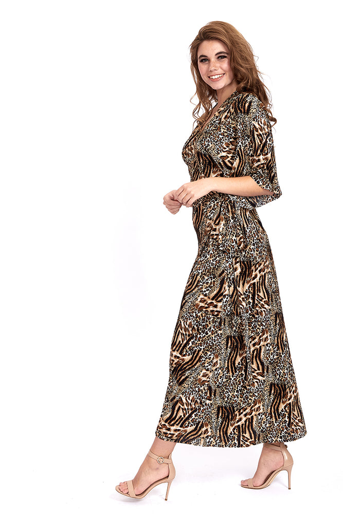 Liquorish Plisse Maxi Wrap Dress in Leopard & Animal Print