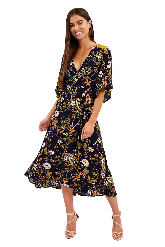 Liquorish Midi Wrap Dress In Floral Print with Lace Detail