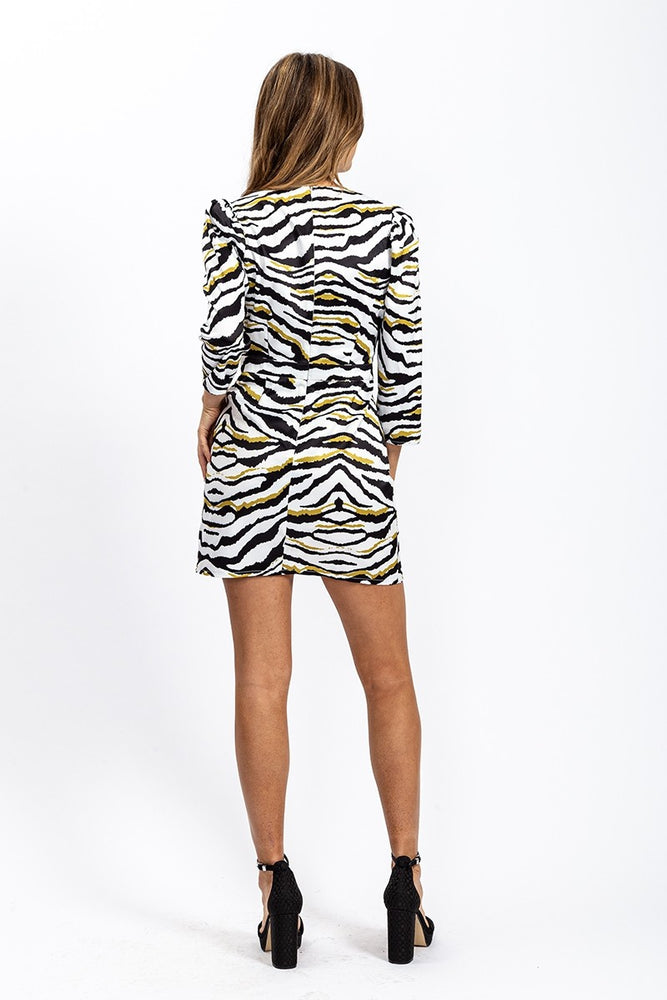 Liquorish Mini Dress in Zebra Print with Gold Details