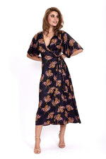 Liquorish Midi Wrap Dress in Black & Navy Floral Print