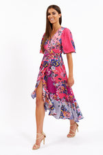 Liquorish Fuschia Short Sleeve Wrap Dress with Contrast Hem