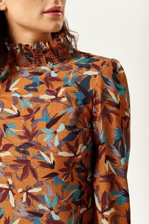 Divine Grace Floral Print Top with Long Sleeves in Tuscany