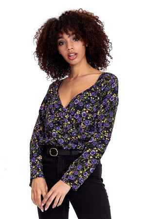 Divine Grace Black Bodysuit In Purple And Yellow Floral Print