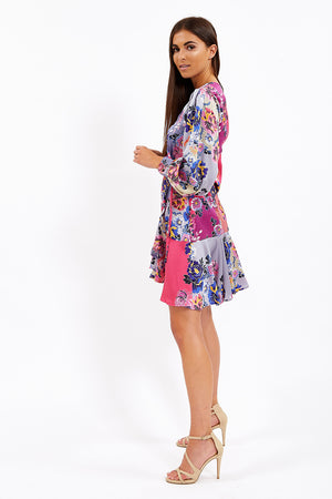Liquorish Wrap Mini Dress In Pink Floral Contrasting Prints