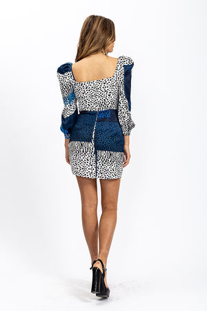 Liquorish Milkmaid Mini Dress with Rushed Sleeves in Blue Square Leopard Print