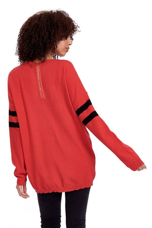 Divine Grace Red Jumper With Sparkly Star & Stripes