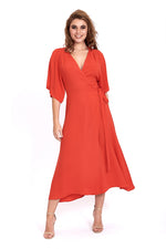 Liquorish Midaxi Wrap Dress in Red