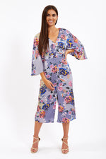 Liquorish Kimono Sleeve Floral Print Dress In Purple