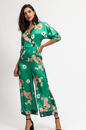Liquorish 3/4 Sleeve Jumpsuit In Green Floral Print