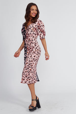 Liquorish Midi Dress With Balloon Sleeves in Black and Pink Animal Print