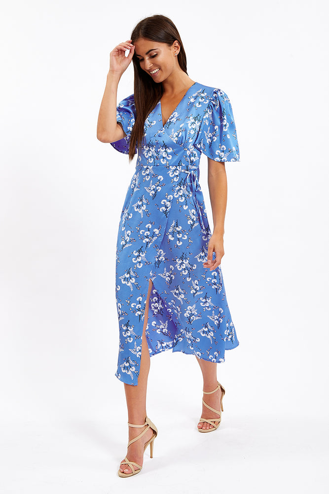 Liquorish Blue Floral Midi Fake Wrap Dress with Short Sleeves