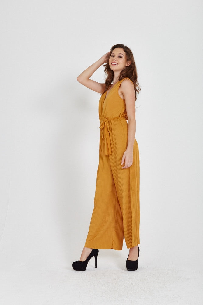 Divine Grace Mustard Pleated Culotte Jumpsuit