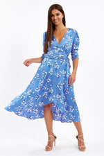 Liquorish Long Sleeve Floral Midi Wrap Dress in Blue