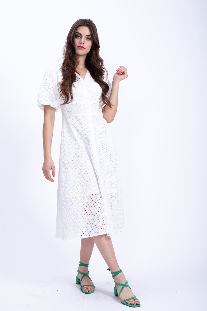 Liquorish Midi White Broderie Anglaise Shirt Dress with Balloon Short Sleeve
