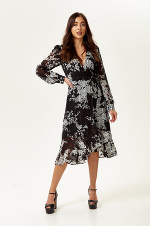 Black And White Floral Print Wrap Midi Dress