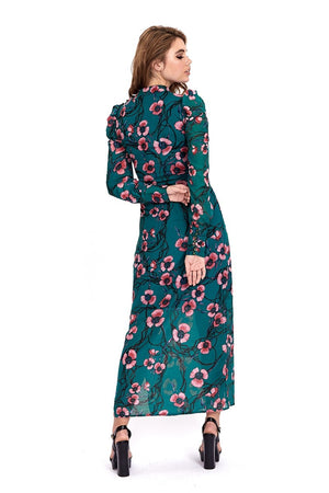 Liquorish Maxi Dress In Green Floral Print