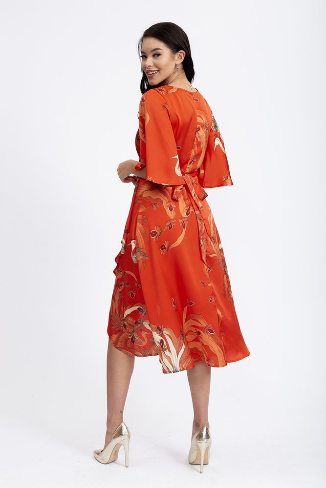 Liquorish Midi Wrap Dress In Red Bird Print