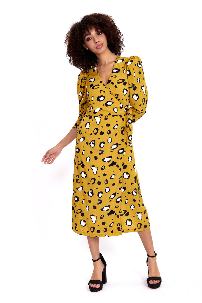 Divine Grace Mustard Leopard Midi Wrap Dress