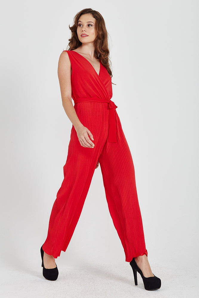 Divine Grace Red Pleated Culotte Jumpsuit