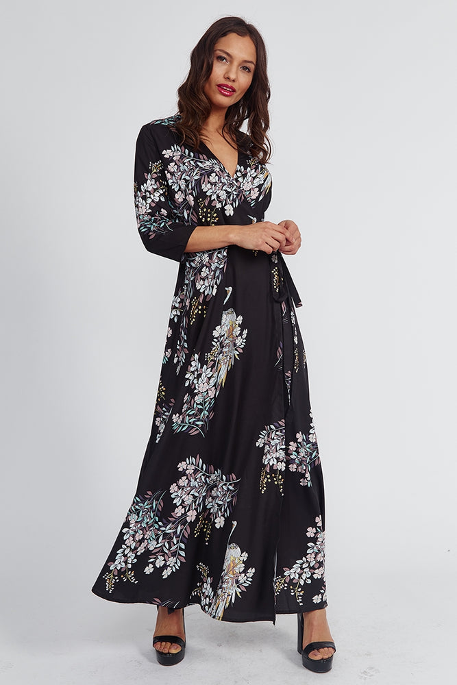 Peacock Maxi Wrap Dress