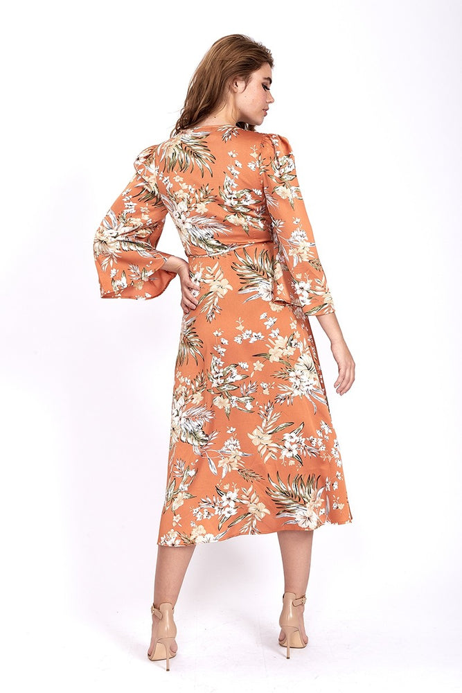 Divine Grace Midi Wrap Dress In Orange Floral Print