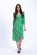 Liquorish Midi Wrap Dress in Green and White Floral