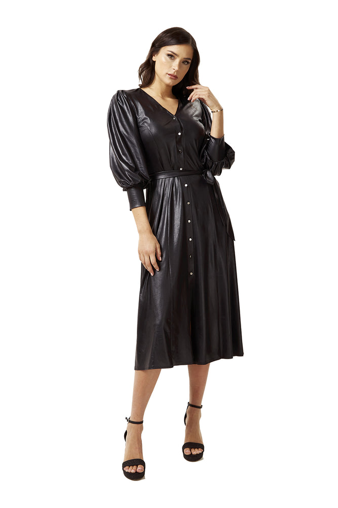 PU Midi Shirt Dress in Black with Balloon Sleeves