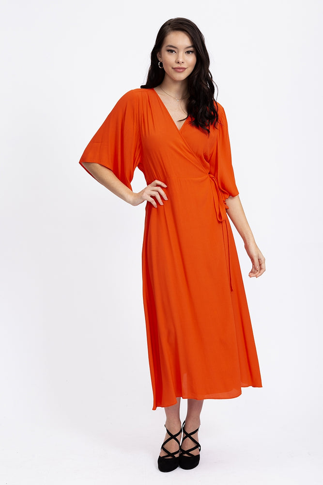 Liquorish Midi Wrap Dress in Orange with Kimono Sleeves
