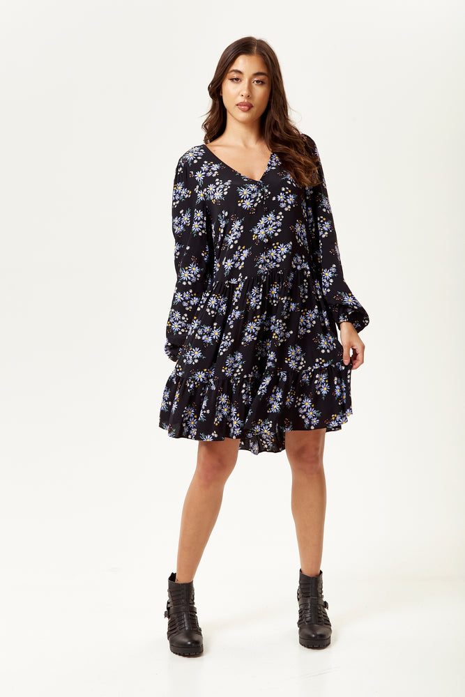 Floral Print Mini Smock Dress in Black