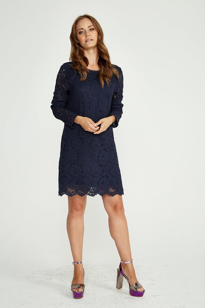 Divine Grace Mini Dress In Navy Lace