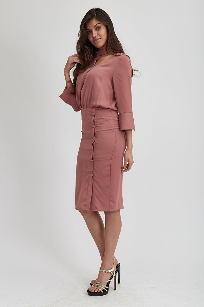 Liquorish Choker Pink Midi Dress