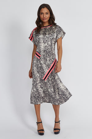 Liquorish Midi Dress in Snakeskin Print with Hot Pink Trim