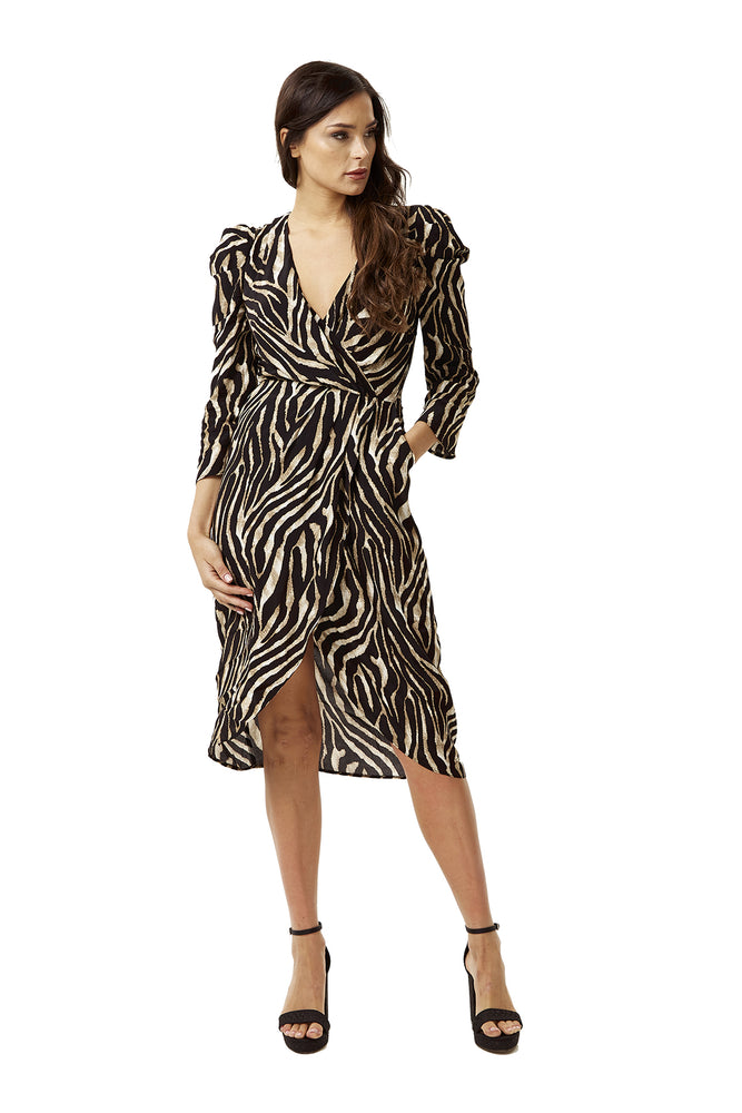 Zebra Print Fake Wrap Midi Dress