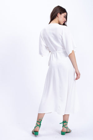 Liquorish Midi Wrap Dress In White with Kimono Sleeves