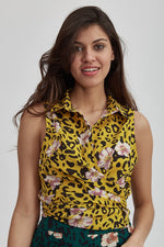 Liquorish Shirt Tie Front in Leopard and Floral Print