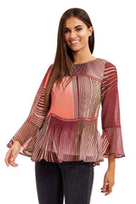 Divine Grace Multicolour Print Pleated Blouse