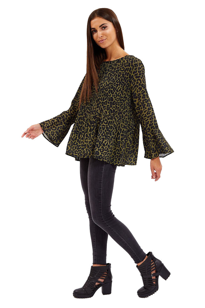 Divine Grace Khaki Leopard Print Pleated Blouse
