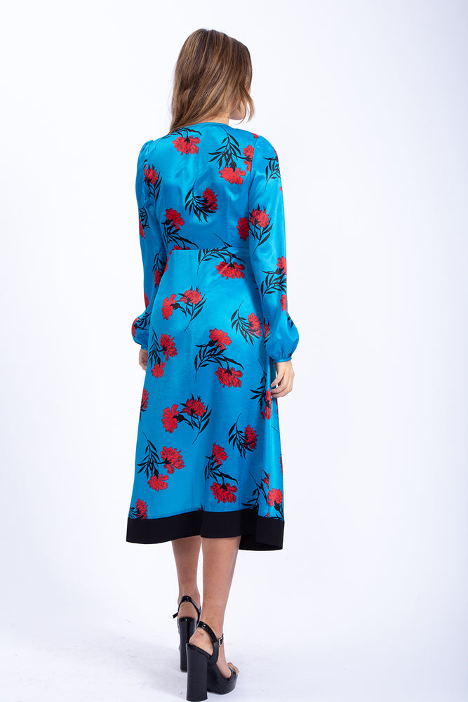 Liquorish Midi Fake Wrap Dress in Blue and Red Oriental Floral Print