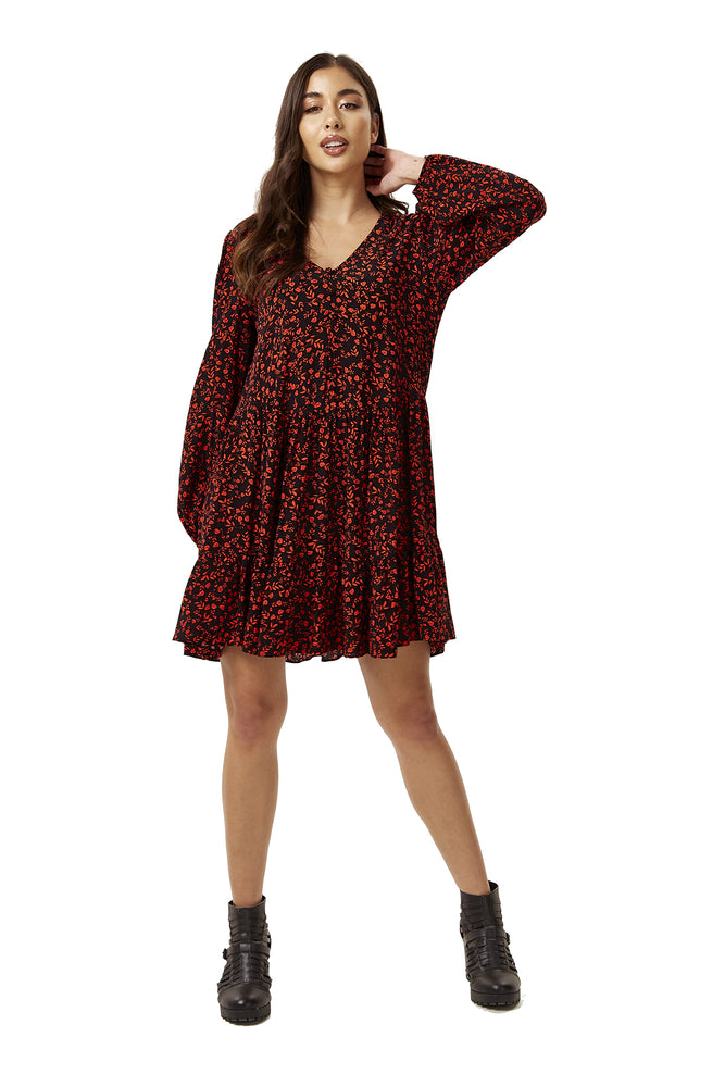 Red Printed Mini Smock Dress