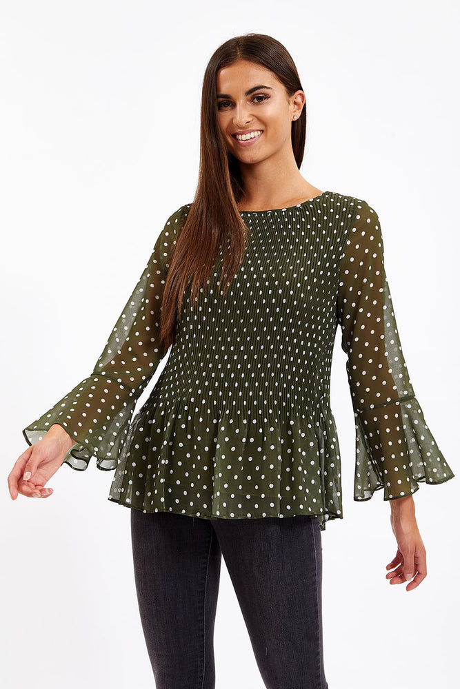 Divine Grace Khaki Polka Dots Pleated Blouse