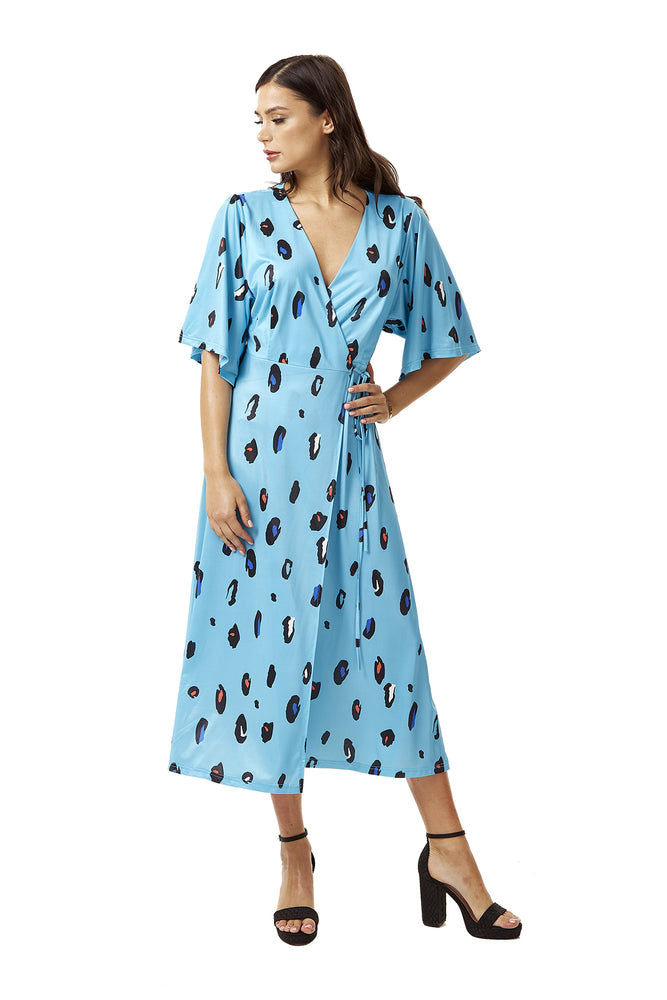 Blue Animal Print Midi Wrap Dress