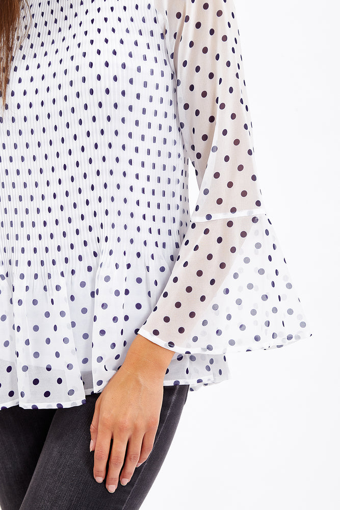 Divine Grace White Polka Dots Pleated Blouse
