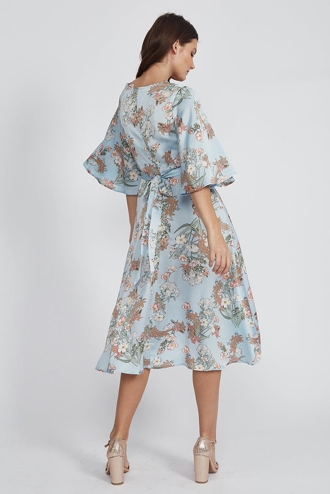 Liquorish Midi Wrap Dress With Tie Belt And Waterfall Hem in Floral Print