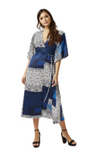 Wrap Maxi Dress in Blue Square Animal Print