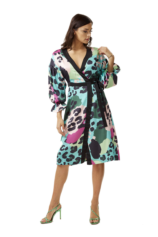 Multicolour Animal Print Wrap Dress with Balloon Sleeves